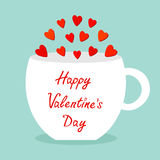 Happy Valentines Day. Teacup mug Tee coffee cup with red heart set. Love greeting card. Flat design. Cute food decoration. Blue ba Royalty Free Stock Photo
