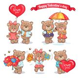 Happy Valentines Day Teddy Bears Couples in Love Royalty Free Stock Images