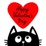 Happy Valentines Day text. Black cat looking up to big red heart. Cute cartoon character. Kawaii animal. Love Greeting card. Flat Stock Image