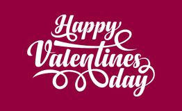 Happy Valentines day text. Happy Valentines day calligraphic text on blue backgroundn Stock Photo