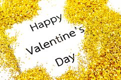 Happy valentines day text with gold glitter. Stock Image