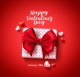 Happy valentines day text greeting card vector banner design with love gift Stock Photos