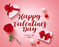 Happy valentines day text greeting card vector design with love gifts Stock Image