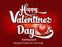 Happy Valentines Day Text  Greeting Card Royalty Free Stock Images