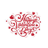 Happy Valentines day text Lettering heart shape  Royalty Free Stock Images