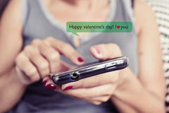 Happy valentines day in a text message Stock Photo