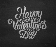 Happy Valentines Day text typography greetings. On black chalkboard. Handdrawn inscription for 14 february greeting cards. Vector illustration. Vintage chalk Vector Illustration