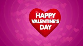 Happy Valentines Day title animation, text on the big red heart. Pink background with floating little hearts stock footage