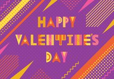 Happy Valentines day. Trendy geometric font in memphis style of 80s-90s. Text and abstract geometric shapes on purple background. With hearts stock illustration