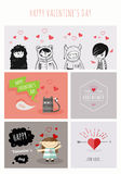 Happy Valentines Day. Trendy Retro Vintage Insignias Stock Images