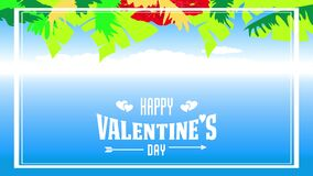 Happy valentines day tropical style design
