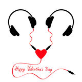 Happy Valentines Day. Two headphones. Earphones couple Audio splitter adapter heart. Red cord. Love greeting card. White Royalty Free Stock Photography