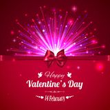 Happy Valentines day typographical glow holiday. Background with shining fireworks, blurred bokeh lights, red bow and place for text. This vector illustration stock illustration