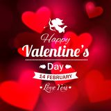 Happy Valentines day typographical glow holiday. Background with shining soft hearts, blurred bokeh lights and place for text. This vector illustration can be vector illustration