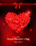 Happy Valentines day typographical glow holiday. Background with shining soft hearts, blurred bokeh lights, red bow and place for text. This vector illustration vector illustration