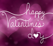 Happy valentines day typography design on pink heart background Royalty Free Stock Image