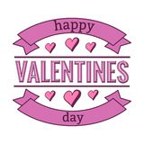 Happy valentines day typography phrase with ribbons and hand drwan hearts. vector illustration