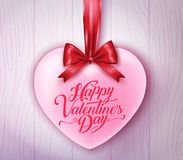 Happy Valentines Day Typography with Pink Heart Hanging with Red Ribbon. In Wooden Background. Vector Illustration Royalty Free Stock Image