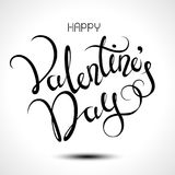 Happy Valentines Day typography poster with handwritten calligraphy text. Stock Photos