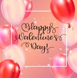 Happy Valentines Day typography poster with handwritten calligraphy text. royalty free illustration