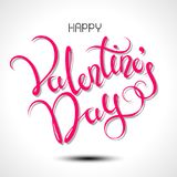 Happy Valentines Day typography poster with handwritten calligraphy text. Stock Photo