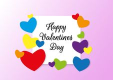 Happy Valentines Day typography poster with handwritten text and colorful rainbow hearts for LGBT love. Paper stype Royalty Free Stock Images
