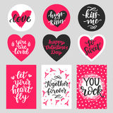 Happy Valentines Day typography set with hand drawn lettering Royalty Free Stock Photos
