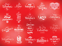 Happy Valentines day typography set. Vector design. Happy Valentines day typography set. Vector text design. Usable for banners, greeting cards, gifts etc. 14 Stock Image