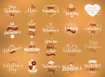Happy Valentines day typography set. Vector design. Happy Valentines day typography set. Vector text design. Usable for banners, greeting cards, gifts etc. 14 Royalty Free Stock Photography