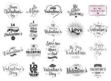 Happy Valentines day typography. Vector design. Happy Valentines day typography set. Vector text design. Usable for banners, greeting cards, gifts etc. 14 Royalty Free Stock Photography