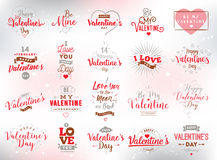 Happy Valentines day typography. Vector design. Happy Valentines day typography set. Vector text design. Usable for banners, greeting cards, gifts etc. 14 royalty free illustration