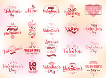 Happy Valentines day typography. Vector design. Happy Valentines day typography set. Vector text design. Usable for banners, greeting cards, gifts etc. 14 Royalty Free Stock Images