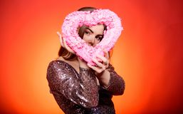 Happy valentines day. Valentines day attribute. Prepare celebration valentines day. Girl makeup and shimmering dress. Love and romance. Woman gorgeous fashion stock images