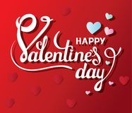 Happy Valentines day. Vector card with handwritten calligraphy text and colorful hearts on red background. White inscription on th Stock Image