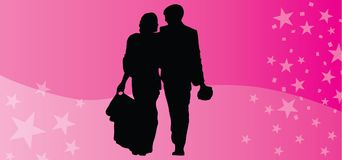 Happy Valentines day vector couple silhouette pink background. This is vector couple silhouette on a pink background. Happy Valentines day! See more our vector Stock Photography