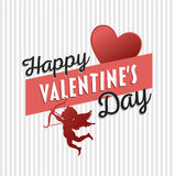 Happy Valentines Day vector with cupid Royalty Free Stock Photography
