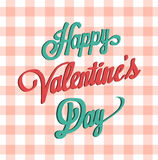 Happy valentines day vector on gingham pattern Royalty Free Stock Image