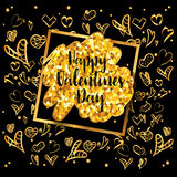 Happy Valentines day vector greeting card. Gold gem heart on black background. Golden holiday poster. Concept for Valentines banner, flyer, party invitation Royalty Free Stock Photos