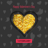 Happy Valentines day vector greeting card. Gold gem heart on grey background. Golden holiday poster. Concept for Valentines banner, flyer, party invitation royalty free illustration
