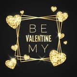 Happy Valentines day vector greeting card. Golden frame, heart and text on black background. Gold holiday poster vector illustration
