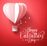 Happy valentines day vector greetings card design with 3d realistic paper cut heart Stock Photo