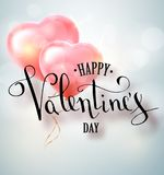 Happy valentines day vector handwritten text greeting card card design with 3d realistic heart shape balloon . Vector. Illustrator 10 eps Royalty Free Stock Image