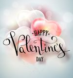 Happy valentines day vector handwritten text greeting card card design with 3d realistic heart shape balloon . Vector. Illustrator 10 eps Stock Photography