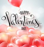 Happy valentines day vector handwritten text greeting card card design with 3d realistic heart shape balloon . Vector. Illustrator 10 eps Stock Image