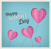 Happy valentines day vector with heart balloons Royalty Free Stock Image