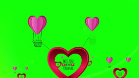 Happy valentines day vector with heart hot air balloon stock footage