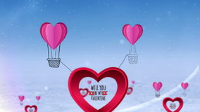 Happy valentines day vector with heart hot air balloon stock video