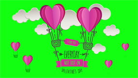 Happy valentines day vector with heart hot air balloons stock video footage