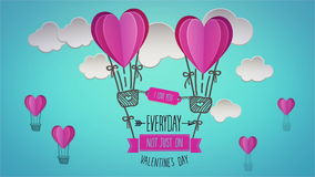 Happy valentines day vector with heart hot air balloons. Digital animation of happy valentines day vector with heart hot air balloons stock video footage