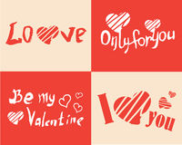 Happy Valentines Day vector illustration with Lettering. I love you. Only for you. Be my Valrntine royalty free illustration